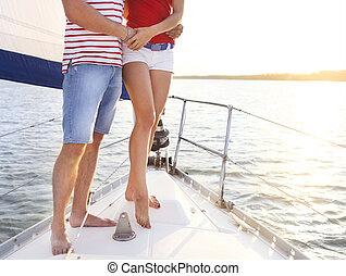 pont, voilier, couple, pieds, coucher soleil, sea.