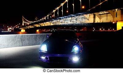 pont, voiture, blinks, lumières, stand, fond, stationnement