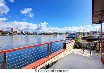 pont, washington, house., lac, walkout, bateau, vue