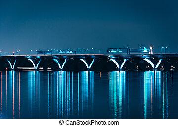 pont, wilson, port, national, woodrow, maryland., vu, nuit