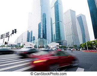 pont, zone affaires, shanghai, esplanade, vue