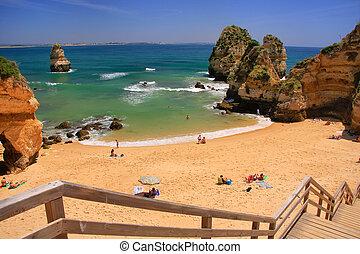ponta, 葡萄牙, 拉各斯, de, piedade, 區域, algarve, 海灘