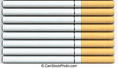 ponta, isolado, cobrança, cima, cigarros, glowing, regular, estúdio, fundo, colocado, fim, branca, eletrônico, vermelho, saída