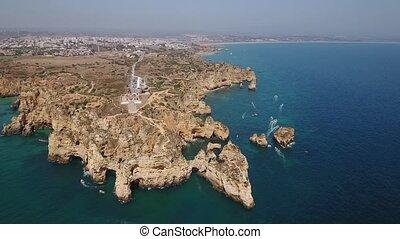 ponta, Luftaufnahmen,  portugal,  Lagos, prächtig,  piedade,  da,  Algarve, Ansicht