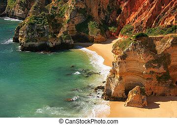 ponta, portugal, lagos, de, piedade, région, algarve