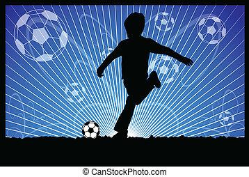 pontapés, bola futebol, criança