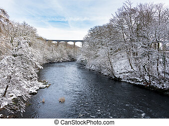 Pontcysyllte Aqueduct near Llangollen in Wales with snow