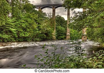 Pontcysyllte Aqueduct on the Llangollen canal near Trefor...