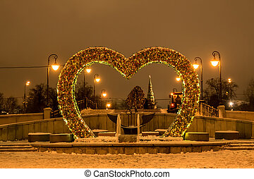 ponte, amanti, a, night., moscow., russia