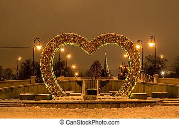 ponte, amanti, mosca, notte,  Russia