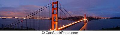 ponte, anoitecer, portão, dourado