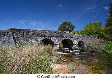 ponte, antiga, inglaterra, aplaudidor, nacional, dartmoor, parque, postbridges, reino unido, devon