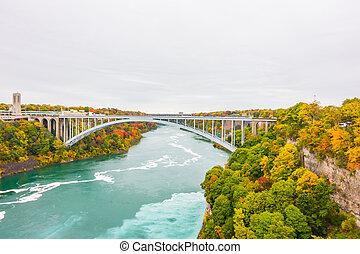 ponte arco-íris, quedas, niagara, durante, amanhecer