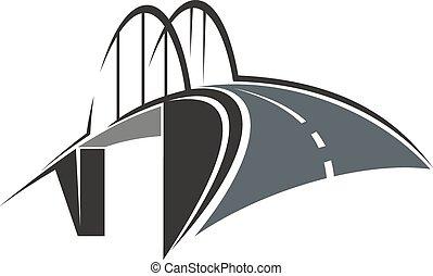 ponte arco, e, strada, icona