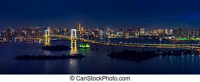 ponte arcobaleno, panorama, tokyo, cityscape, night.