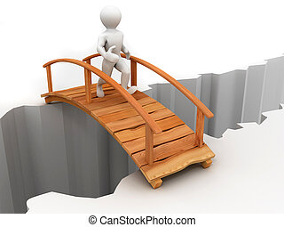 ponte, através, barranco