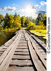 ponte, através, rio