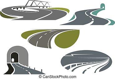 ponte, autostrada, strade, tunnel, icone