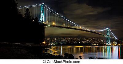 ponte, bc, notte, vancouver, cancello, leoni