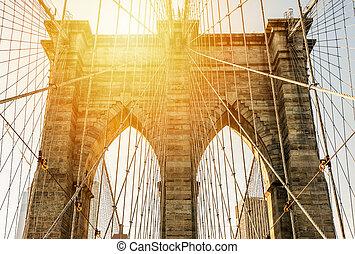 ponte brooklyn, em, a, pôr do sol