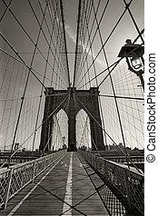 ponte brooklyn, em, cidade nova iorque