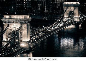 ponte, budapest, hungria, corrente, europe.