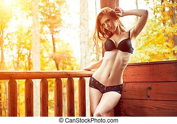 ponte, cabina, rosso, sexy, mutandine, reggiseno