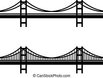 ponte, cabo, símbolo, metal, pretas, suspensão