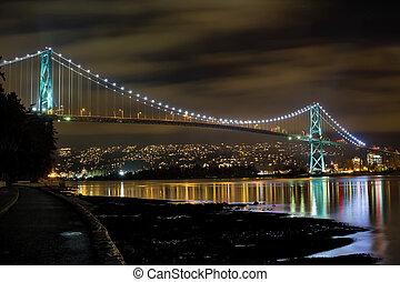 ponte, cancello, leoni, notte