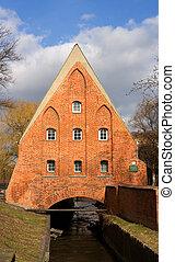 ponte, casa, em, gdansk, polônia