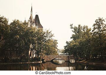 ponte, castelo, parque