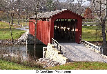 ponte, catarata, coberto