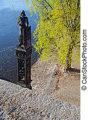 ponte, cavaleiro, charles, bruncvik, estátua famosa