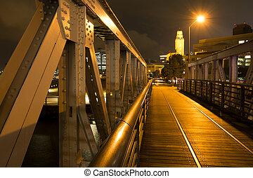 ponte, chão madeira