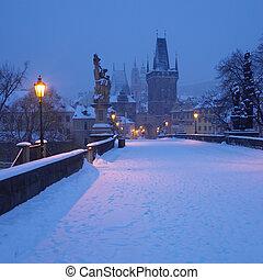 ponte charles, in, inverno, praga, repubblica ceca