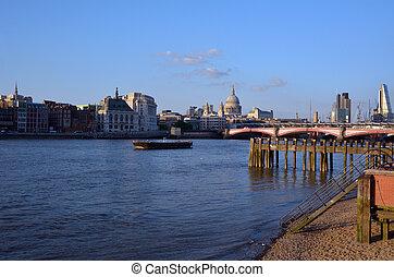 ponte, città, pauls, st, orizzonte, londra, cattedrale, ...
