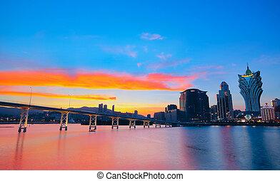ponte, cityscape, casinò, famoso, grattacielo, punto di riferimento, macao