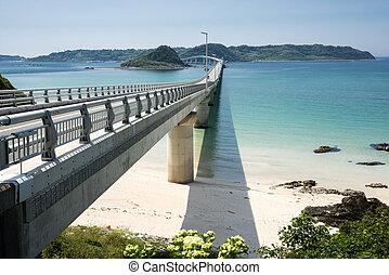 ponte, conectando, para, ilha