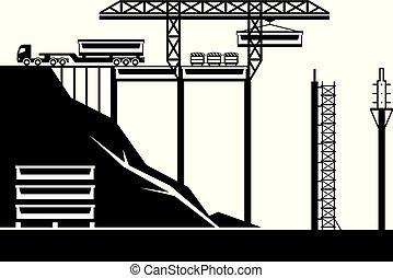 ponte, construção, rodovia