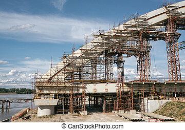ponte, construção, sob