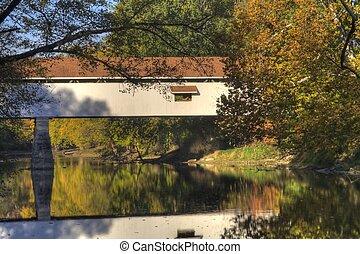 ponte coperto, in, autunno