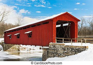 ponte coperto rosso, con, neve