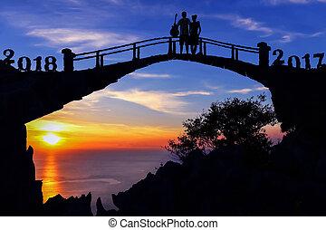 ponte, coppia, nuovo, 2018, anno