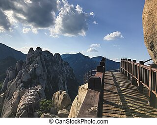 ponte, coréia, madeira, nacional, park., pequeno, seoraksan, sul
