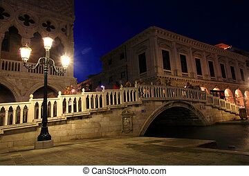 The Bridge of Sighs is one of many bridges in Venice built in the 16th century. The enclosed bridge is made of white limestone and has windows with stone bars. It passes over the Rio di Palazzo and connects the old prisons to the interrogation rooms in the Doge's Palace. It was designed by Antoni ...
