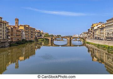 ponte, di, santa, trinita, florencia, italy., santa, trinita, puente