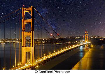 ponte, dorato, stellato, cielo notte, sotto, cancello