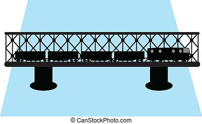 ponte, e, trem, silueta, vetorial