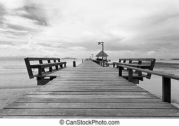 ponte, ebb, sobre, maré, mar negro, durante, branca
