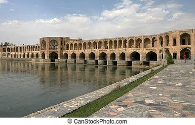 ponte, em, esfahan., irã